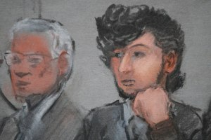 Accused Boston Marathon bomber Dzhokhar Tsarnaev (R) is shown in a courtroom sketch on the first day of jury selection at the federal courthouse in Boston