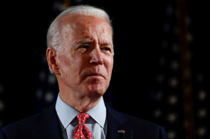 FILE PHOTO: Democratic U.S. presidential candidate and former Vice President Joe Biden speaks at an event in Wilmington